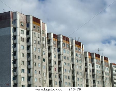 Old Residential Communistic Skyscrapers
