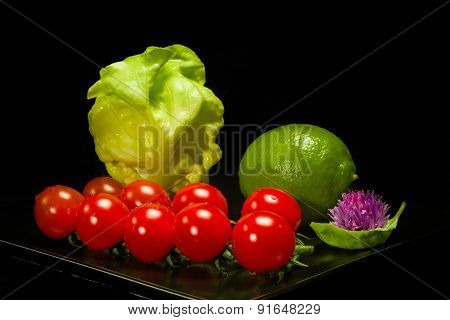 Lettuce, Lime, Basil  And Tomato