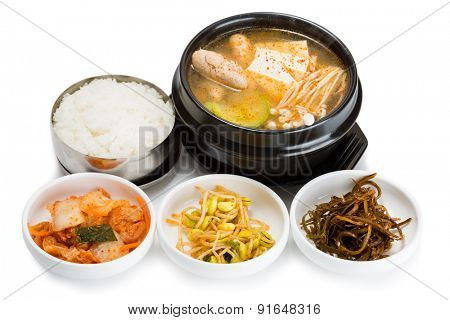 Pollock roe soup, mushrooms, tofu and spicy salads. From a series of Food Korean cuisine.