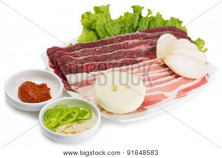 Samgyeopsal popular Korean dishes. Raw meat pork and beef cooked on the grill for roasting participants meal. From a series of Food Korean cuisine.