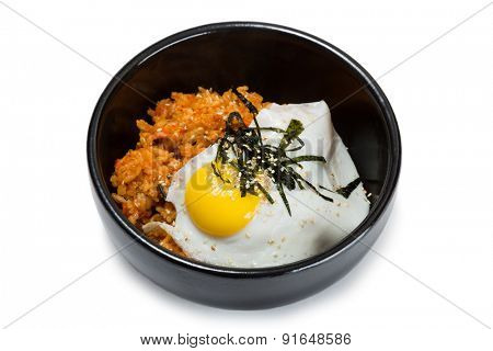 Fried rice with kimchi and pork. From a series of Food Korean cuisine.