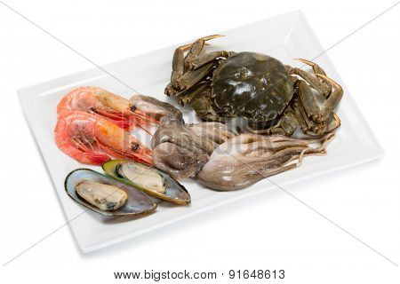 Fresh raw crab, small octopus, shrimp and mussels for the preparation of various seafood dishes. From a series of Food Korean cuisine.