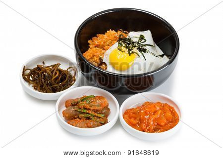 Fried rice with kimchi and pork, fried egg and spicy seasonings. From a series of Food Korean cuisine.