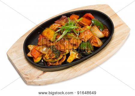 Roasted meat with vegetables in a skillet. From a series of Food Korean cuisine.