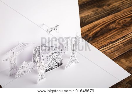 Paper cut of travel (Japan,France,Italy,New York,India,egypt)