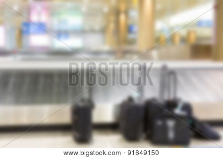 Abstract blur Suitcases and  luggage band on the airport