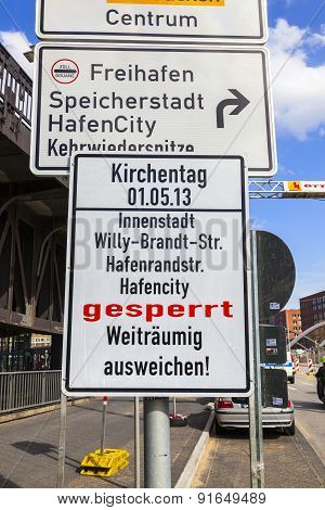Sign Harbor Area Closed Due To Kirchentag 2013