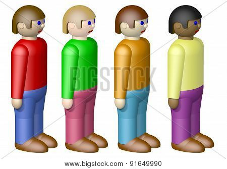 Toy Nationalities Isolated On White Background
