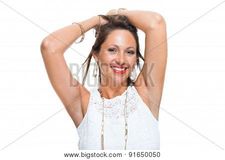Happy Woman In Trendy Outfit Holding Her Hair Up