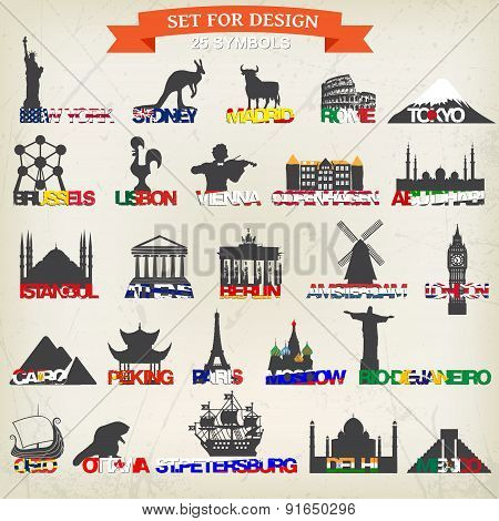 set of tourist symbols.vector illustration. Symbol of London Paris Brussels Paris Madrid Lisbon