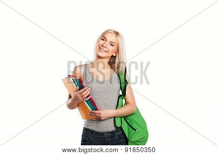 college smiling student girl with book and bag isolated