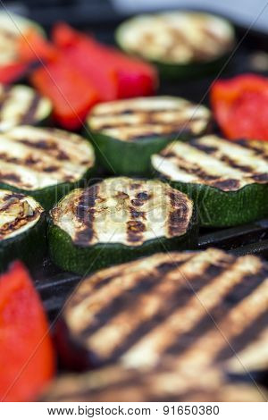 Zucchini Eggplant And Red Pepper On A Grill