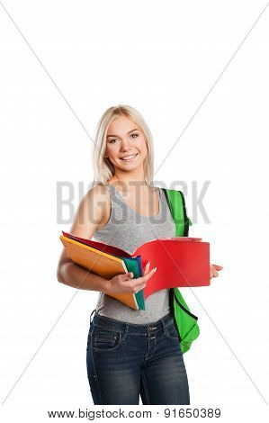 college student girl with book and bag isolated on white