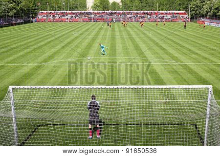 MOSCOW - MAY 14, 2014: The football game at the International football tournament Cup of Victory at the Spartakovets stadium in Moscow