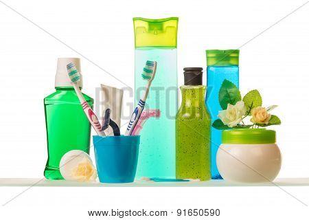 Hygiene tools on white