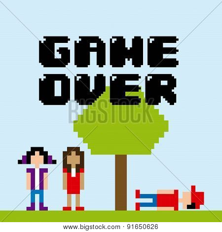 Videogame design over blue background vector illustration