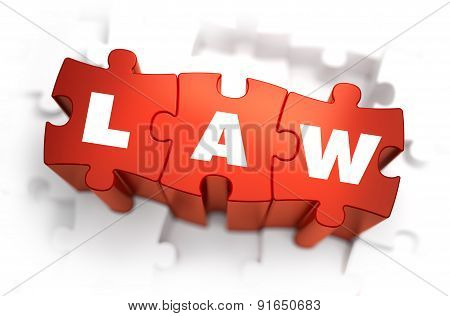 Law - Text on Red Puzzles with White Background.