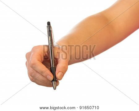 Hand with pen on white