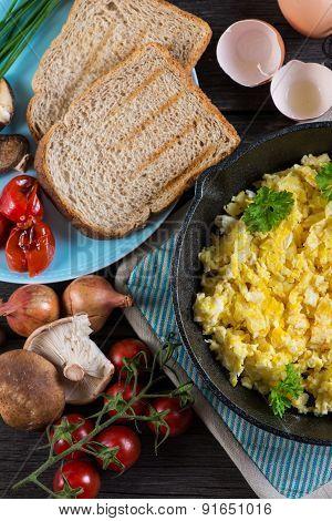 Serving Healthy Brunch, Scrambled Egg With Vegetables, Overhead