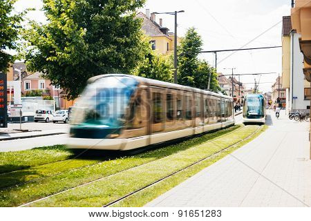 Train Tramway In The City Of Strasbourg, France.