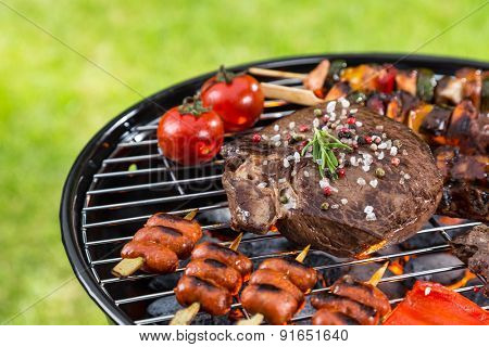 Barbecue grill with various kinds of meat. Placed on grass