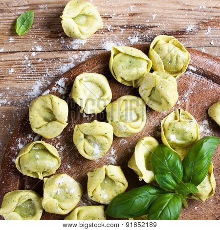 Homemade raw Italian tortelloni