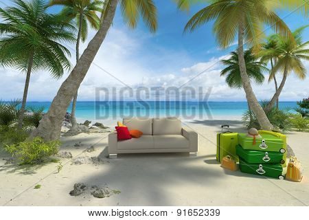 3D rendering of a sofa and a pile of luggage on a tropical beach