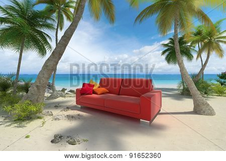 3D rendering of a sofa on a tropical beach
