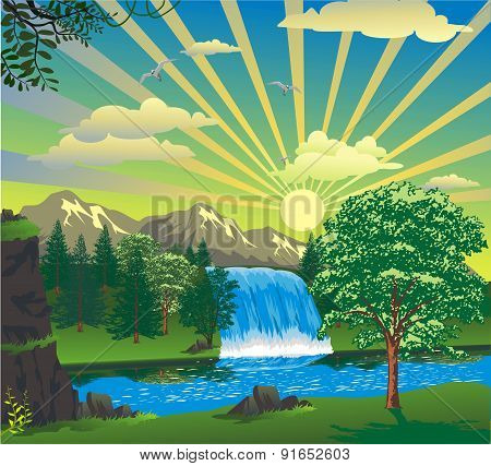 Landscape - Sunrise Over A Waterfall [