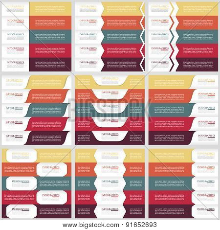 Mega collection of web infographic concepts and banners, various universal set. Five options.