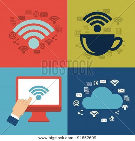 Technology design over colorful background vector illustration