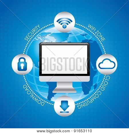 Technology design over blue background vector illustration