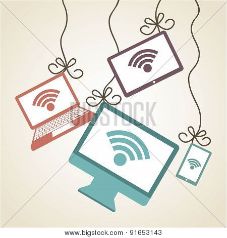 Technology design over beige background vector illustration
