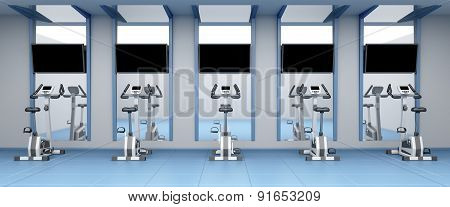 Stationary Bicycles In Gym