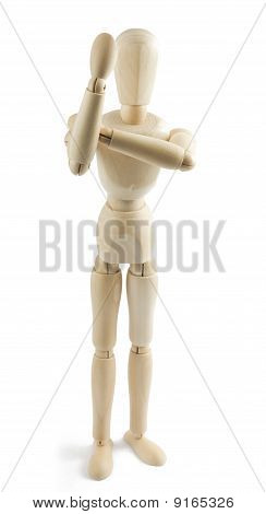 Wooden Mannequin Shows Indecent Gesture