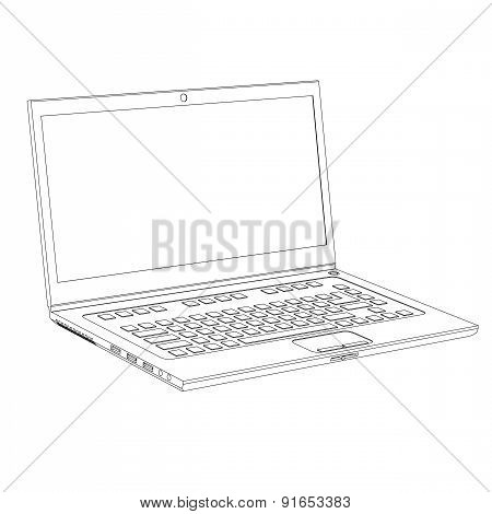 Laptop Contour On A White Background