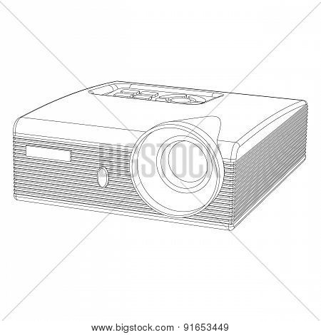 Multimedia Projector A Contour On A White Background