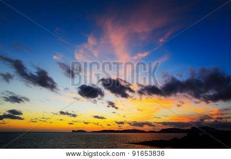 Capo Caccia Under A Colorful Sky