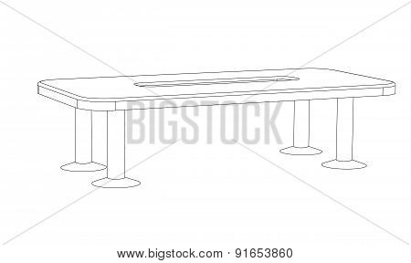 Office Table For Conferences On A White Background