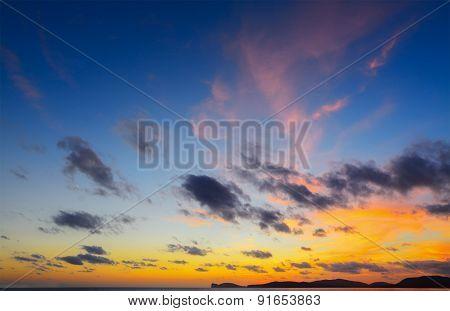 Colorful Sky Over Capo Caccia At Dusk