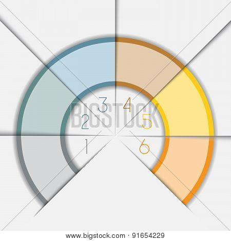 Color Semicircle Template With Text Areas On 6 Positions