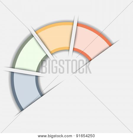 Color Semicircle Template With Text Areas On Four Positions