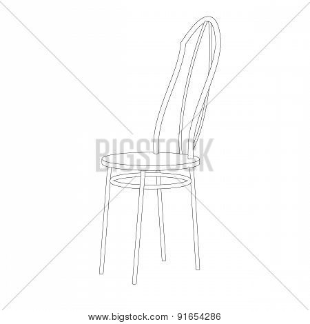 Kitchen Chair With A Back On A White Background