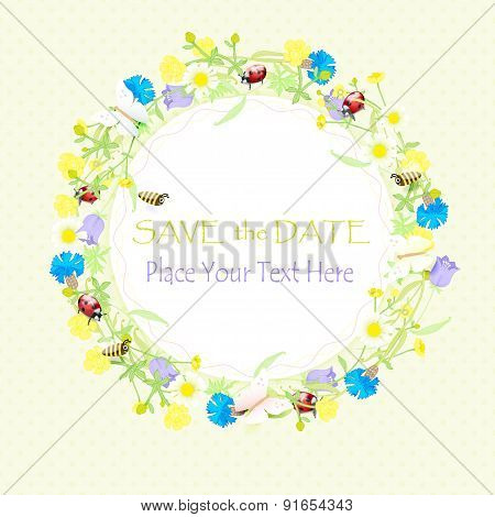 background wildflowers wreath and banner save the date. vector illustration