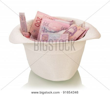 Hat full of money