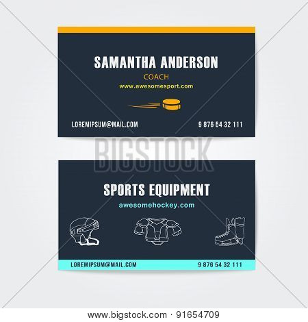 Business cards vector design for trainers and sport equipment