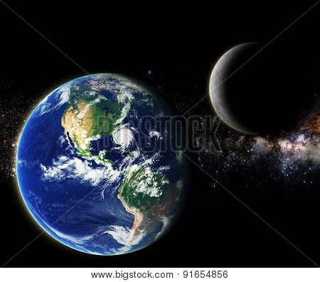 Earth And Moon In Milky Way Galaxy Space Element Finished By Nasa
