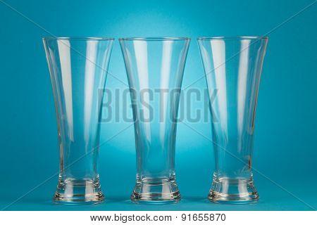 Three beer empty glasses