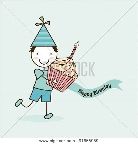 Birthday design over blue background vector illustration