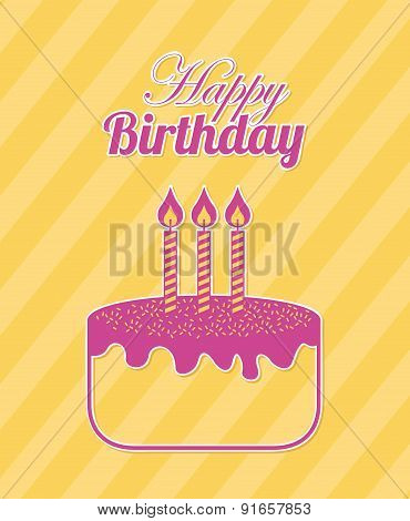 Birthday design over yellow background vector illustration